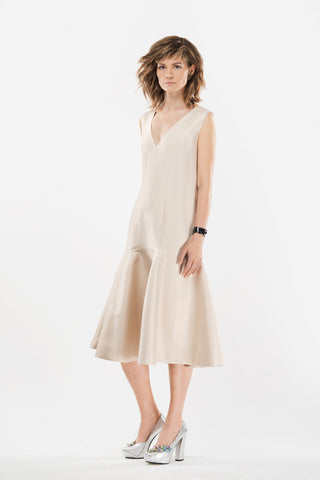 Beige silk dress