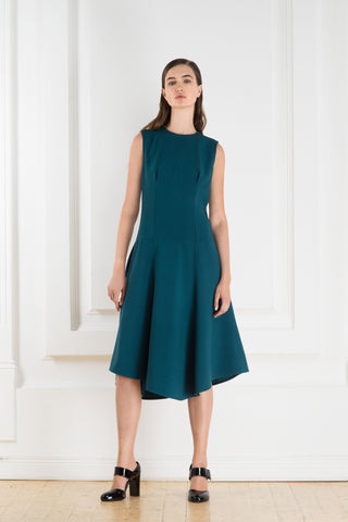 Cyan sleeveless dress with a metalic zipper on the back