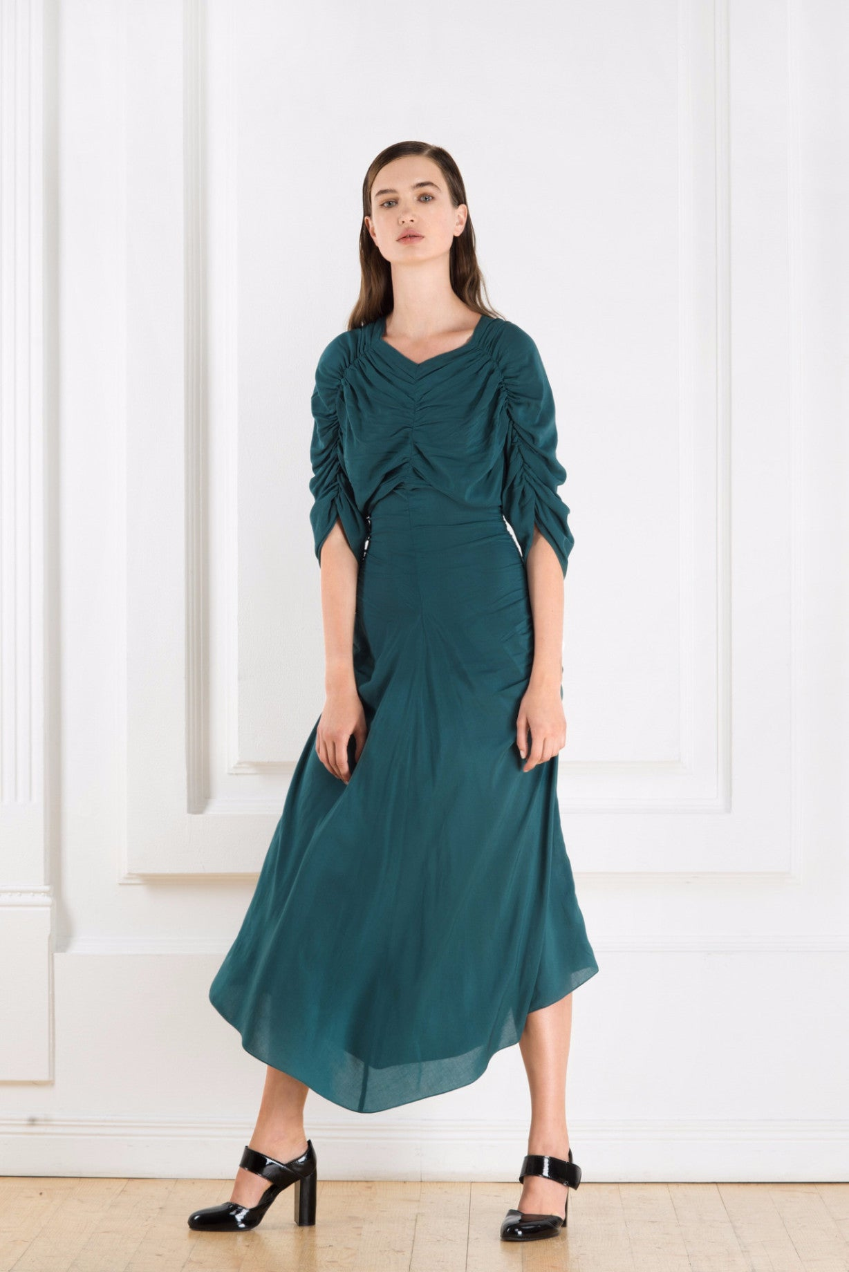 Cyan midi dress  with short sleeves