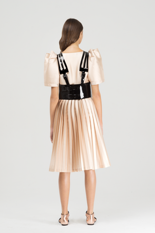 Pleated champagne dress