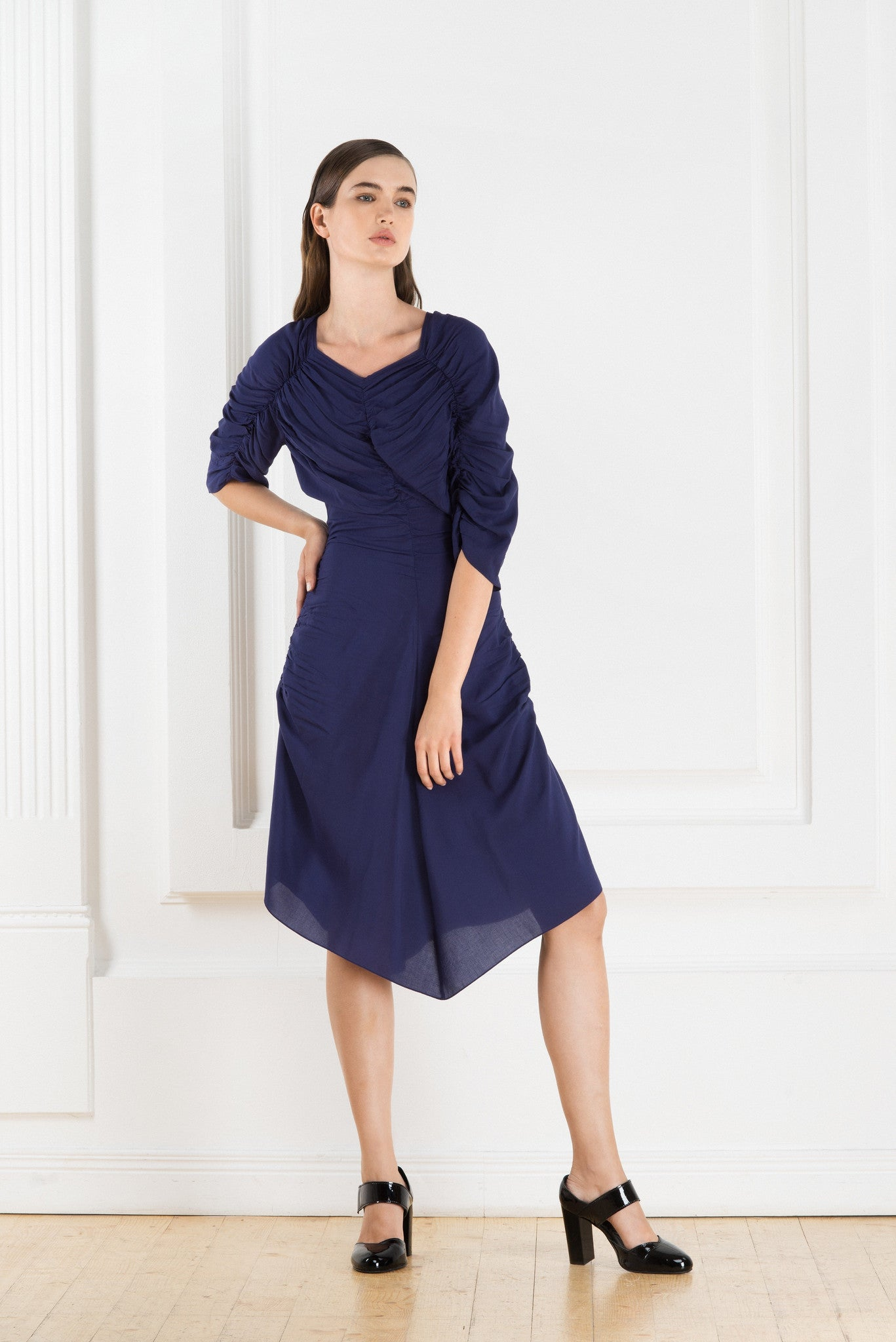 Blue midi dress  with short sleeves