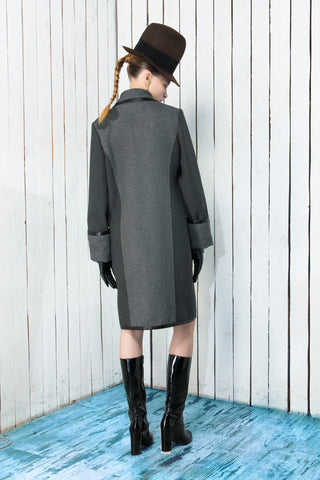 Gray coat with leather details