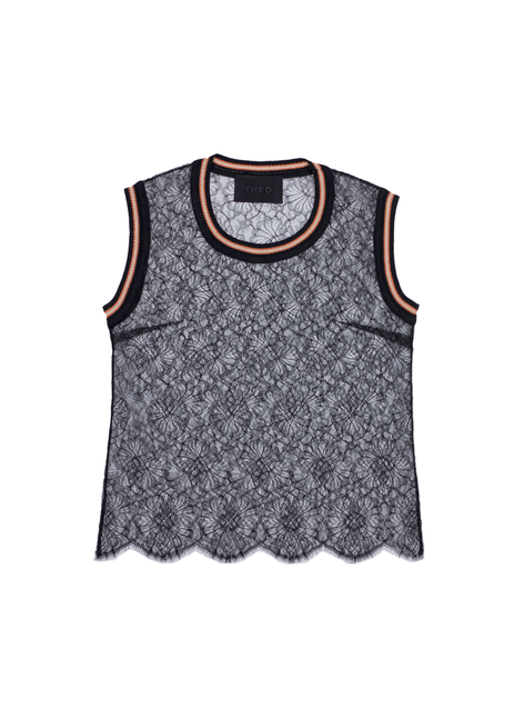 Lace camisole with knitted detail