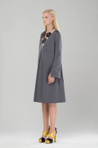 Day dress with vented sleeves