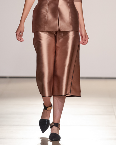Silk culottes with slip pockets and ferreting