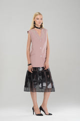 Organdy skirt with leather details