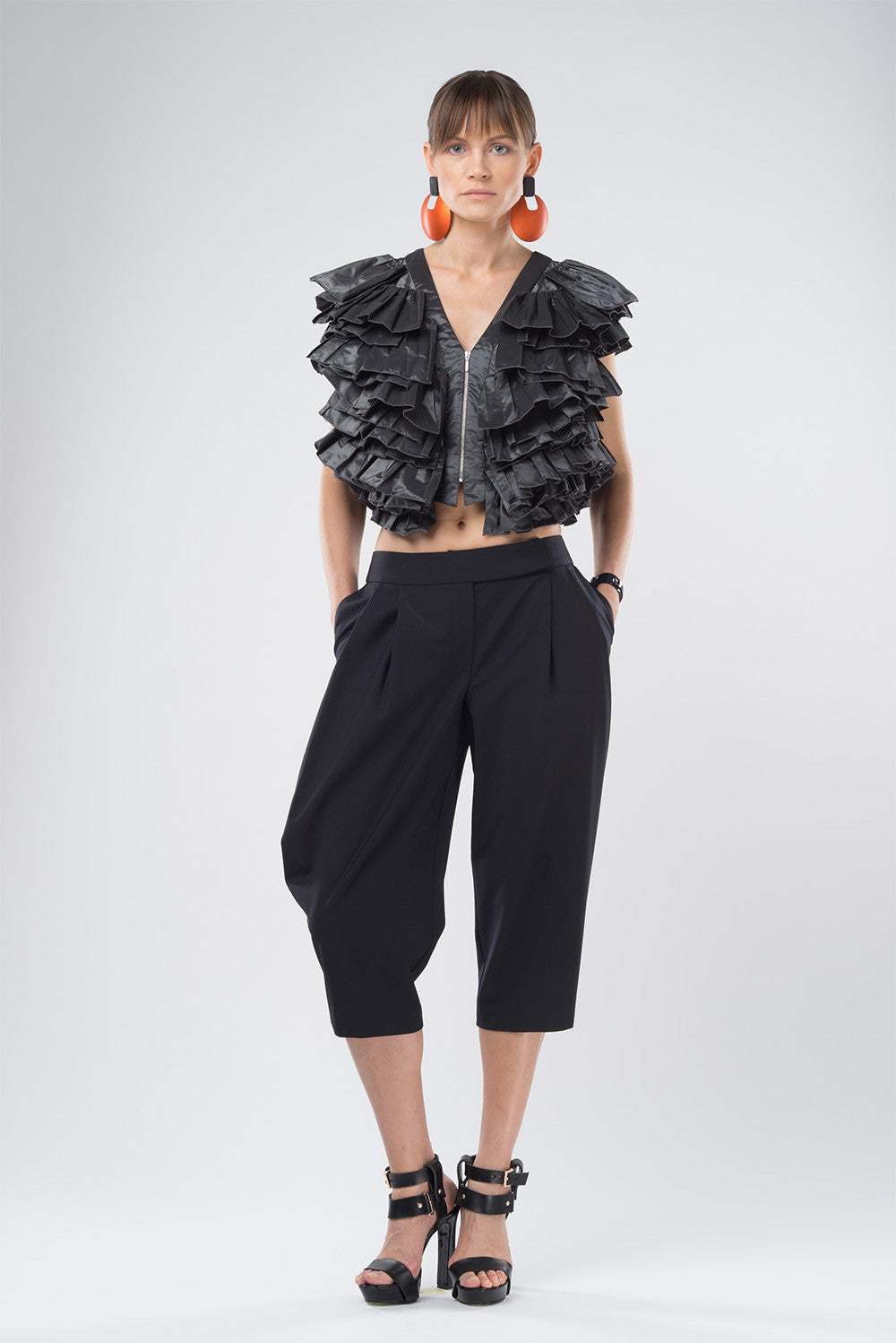Cropped ruched vest
