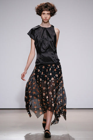 Combined dress with pleated organdy skirt and silk top