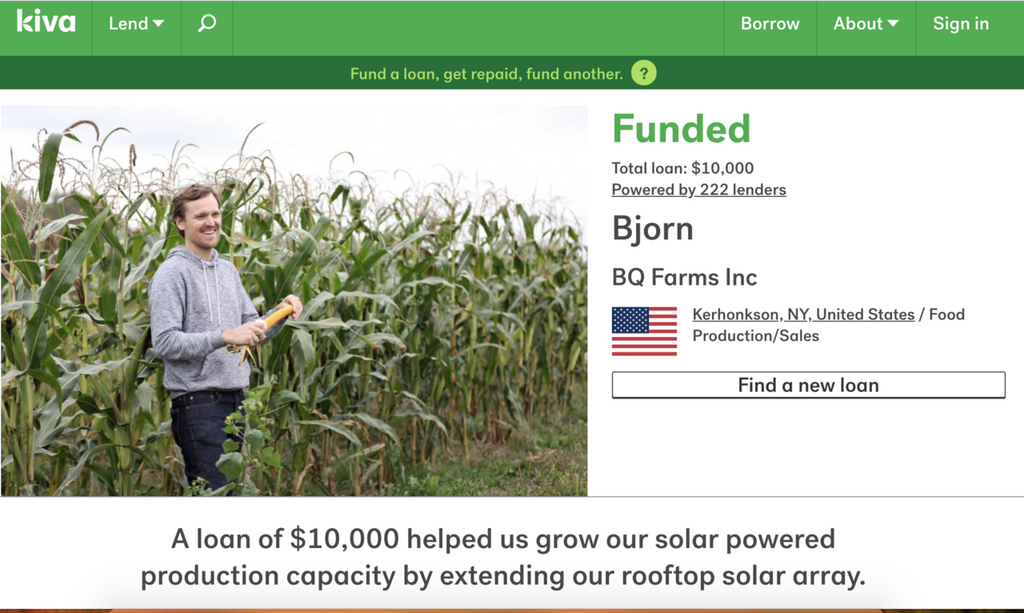 Kiva Loan for Solar Array
