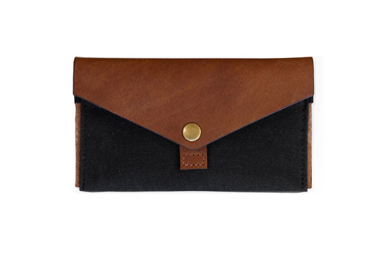 Leather & Canvas Phone Clutch