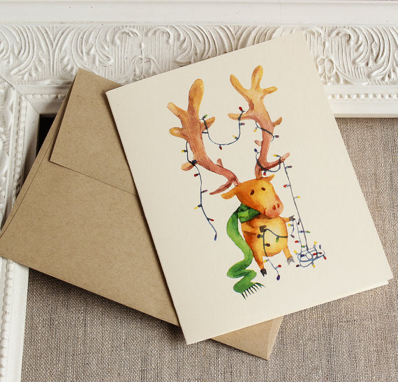 Happy Everything Reindeer and CHristmas Lights Holiday Card