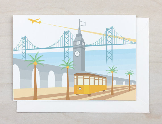 Tram at the Ferry Building Greeting Card