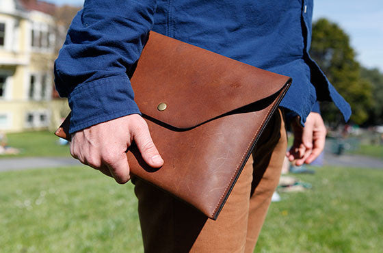 Leather Tablet Portfolio - Brown
