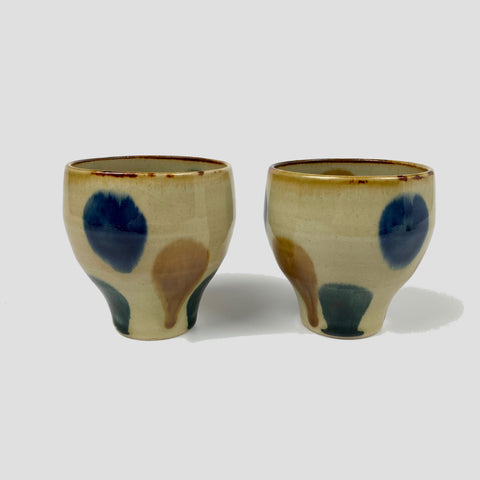 Ceramic Tea Cup - Blue, Ochre and Green Drops