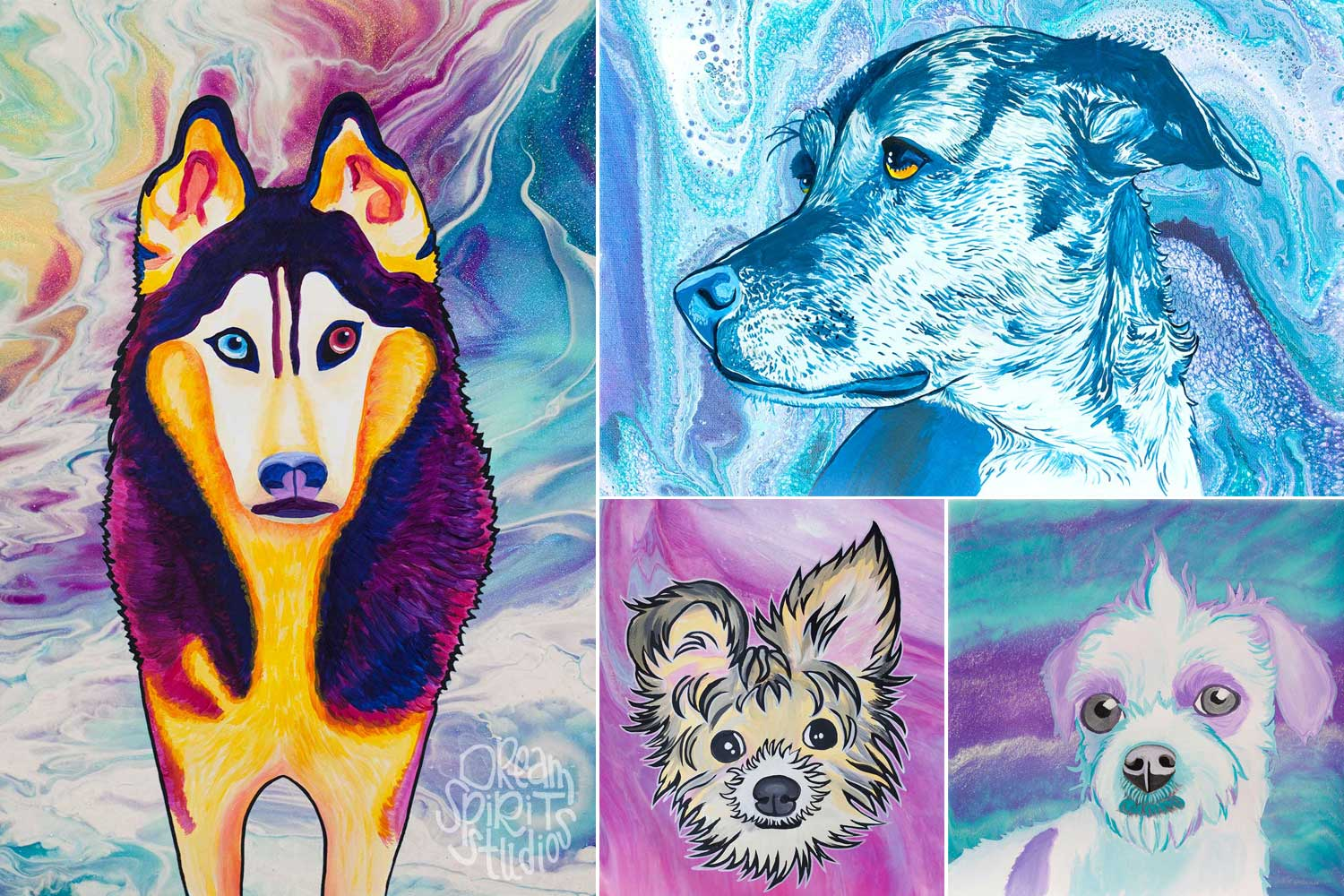 Medley of colorful, caricature-styled dog portrait paintings against acrylic poured backgrounds.