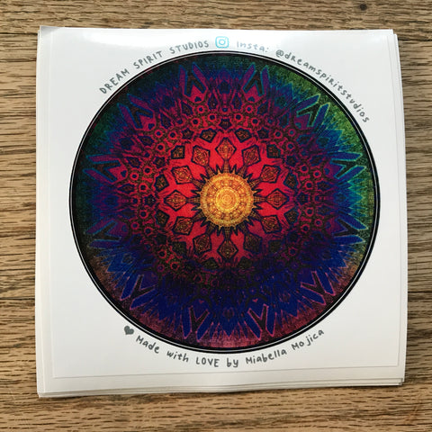 "Eternal Sun Glyph Mandala 4"" Sticker"