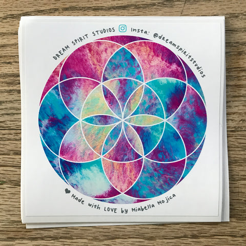 "Mermaid Tides Seed of Life Mandala 4"" Sticker"