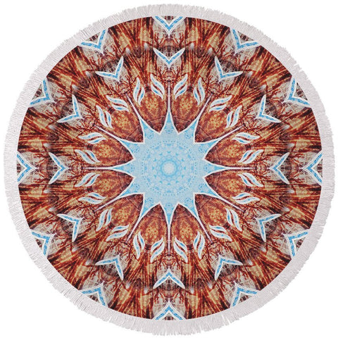 Round Beach Towel - Elms' Last 3 Breaths Mandala