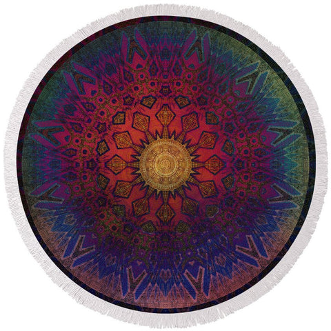 Round Beach Towel - Eternal Sun Glyph Mandala