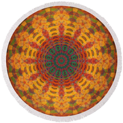 Round Beach Towel - Indian Paintbrush Mandala