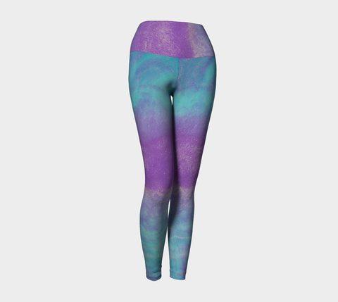 Banded Aqua and Purple Yoga Leggings