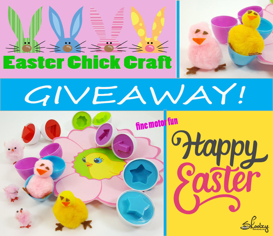 Easter Chick Craft Activity - GIVEAWAY! - Easy & Quick Fun for Toddlers & Preschoolers.