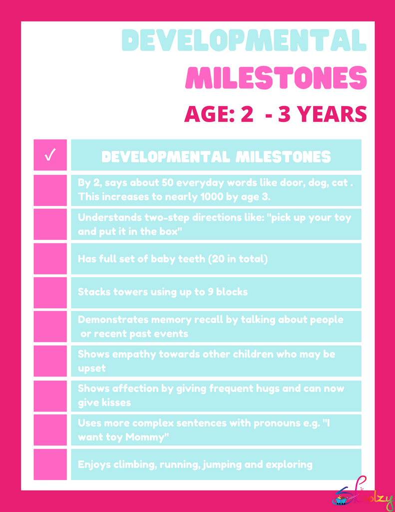 Developmental Milestones 2-3 year olds
