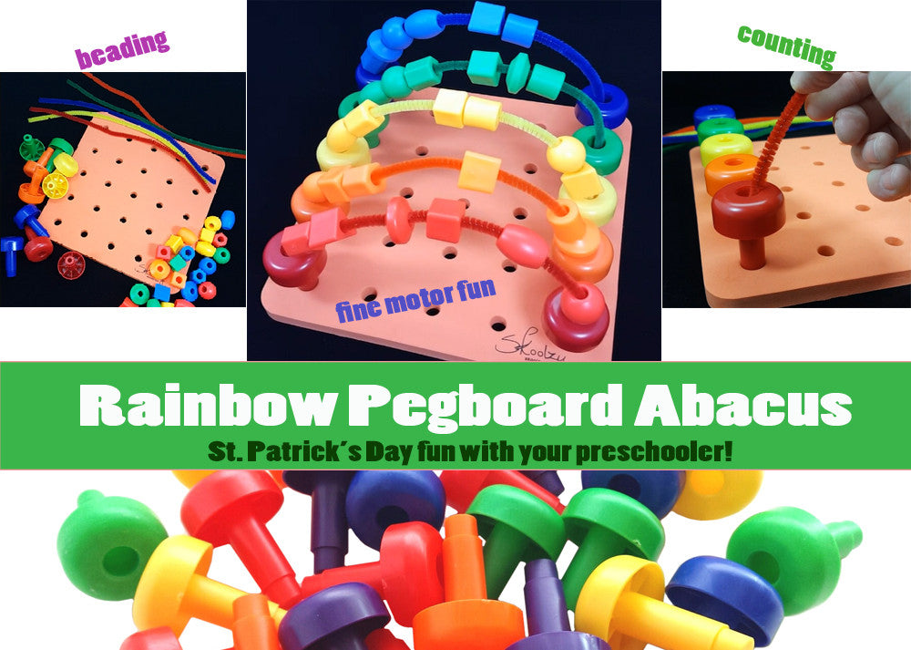 St. Patrick's Day Pegboard Rainbow Abacus Toddler Activity!