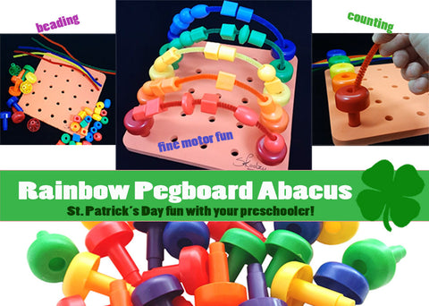 shamrock, St. Patrick's Day, toddler activities, pegboard, stringing beads. lacing beads, rainbow, preschool activities