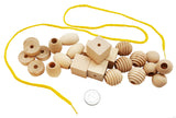 25 Natural Wood Blocks Lacing Beads