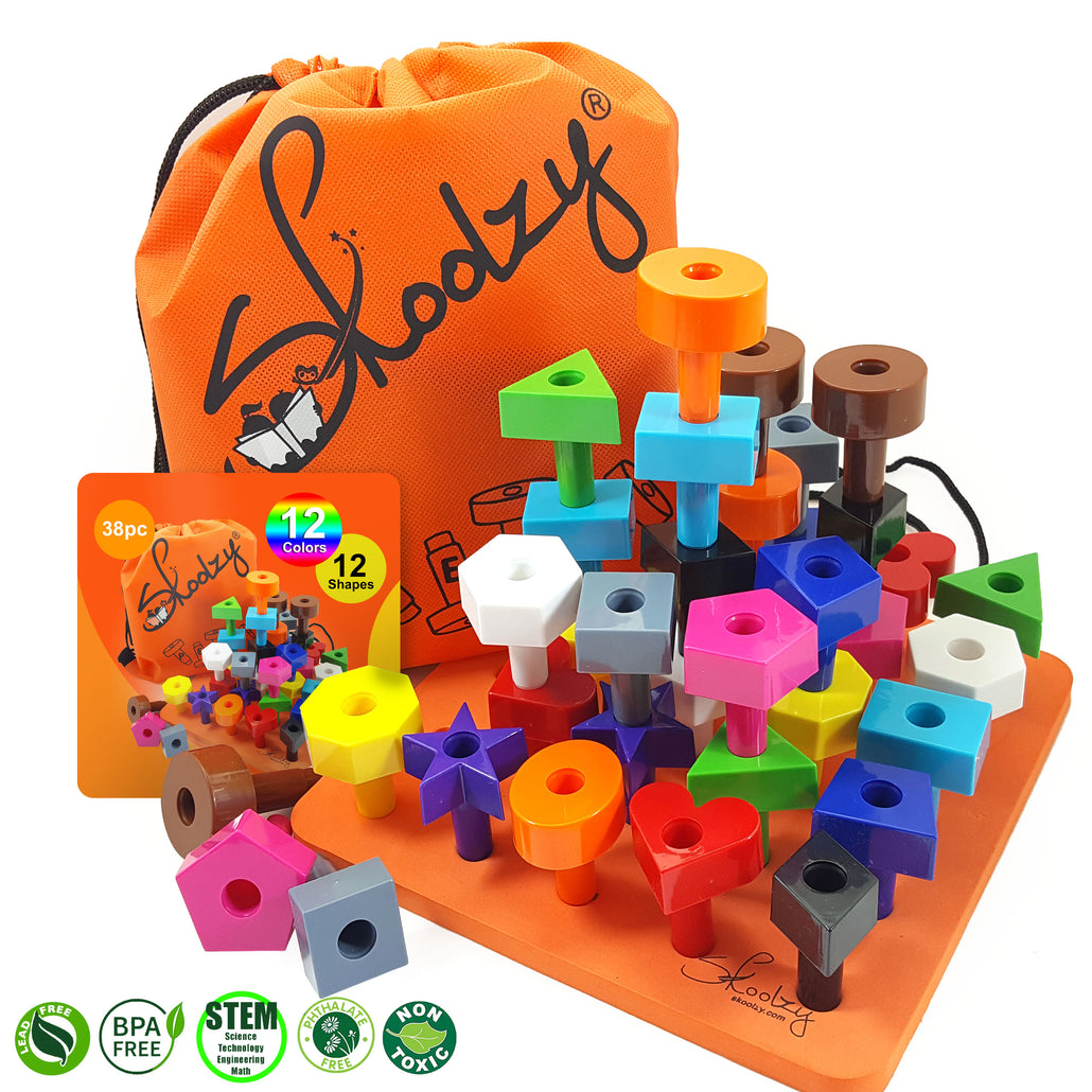 Stacking Toys - STEM Toddler Toys for 2, 3, 4 year old boys or girls - 38pc<p><font><small>SK-032</small></font></p>