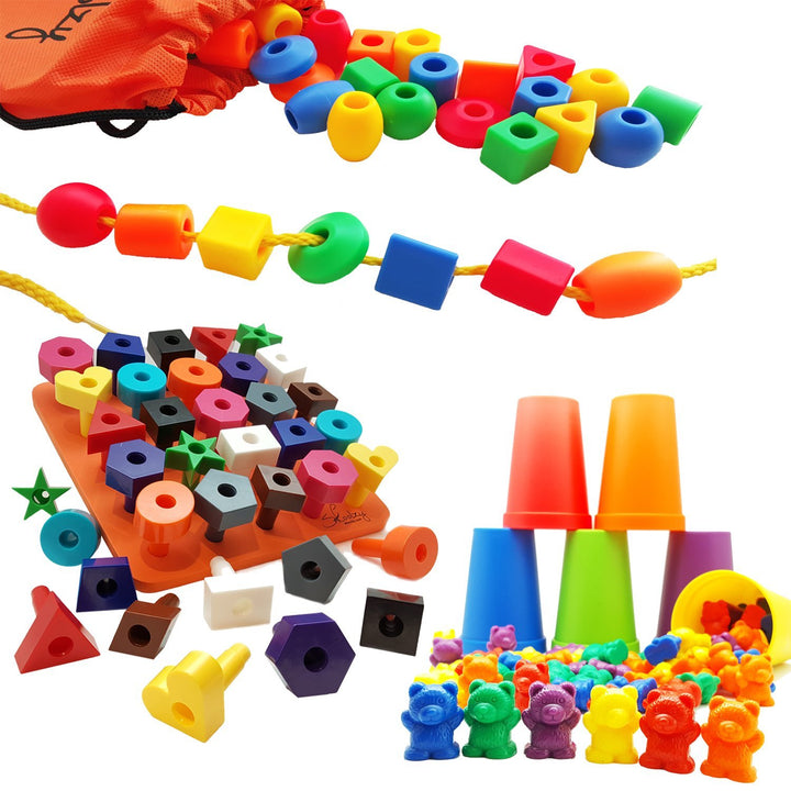 Preschool Learning Toys Set | BEADS FOR KIDS, COUNTING BEARS, STACKING PEG BOARD
