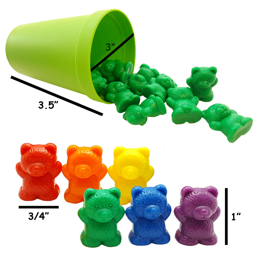60 Rainbow Best Counting Bears Toys Cups, Color Sorting & Matching ...