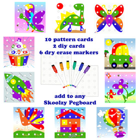 Skoolzy Peg Board Pattern Cards - Matching Creative Art Extension Kit<p><font><small><b>SK-038