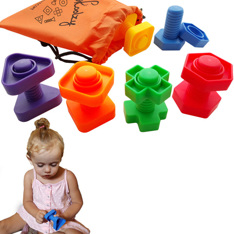 12 pc Jumbo Nuts and Bolts Set With Tote