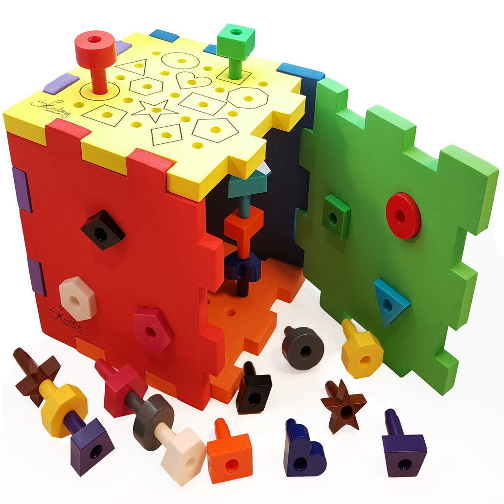 Activity Cube for Toddlers - Shape Sorter Pegboard<p><font><small><b>SK-033</small>