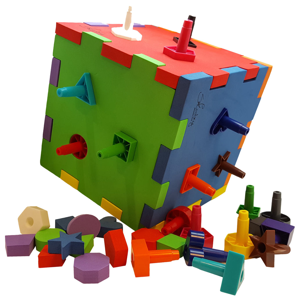 Shape Sorter Pegboard Activity Cube for Toddlers – Skoolzy