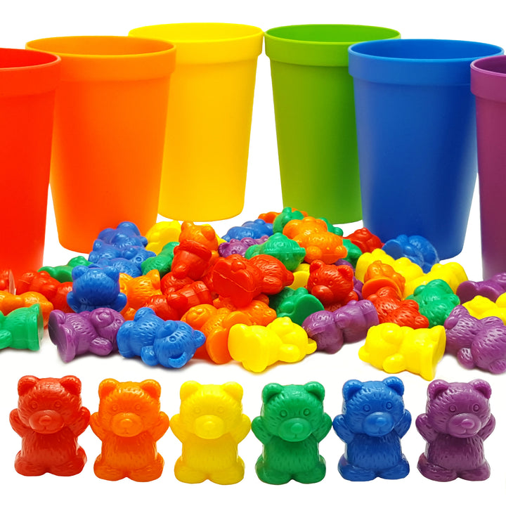 Skoolzy Rainbow Counting Bears with Matching Sorting Cups, Bear Counters & Dice Toddler Games 70pc<p><font><small><b>SK-016</small>