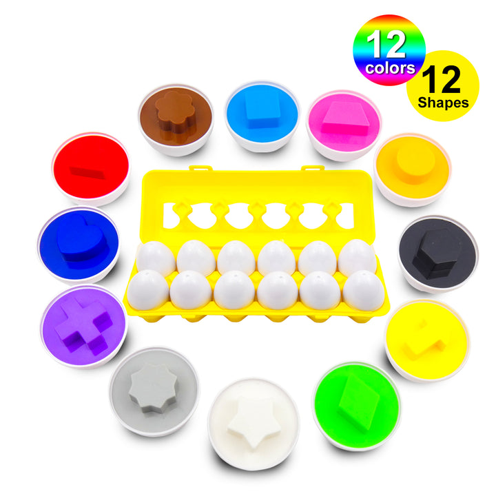 12 Educational Learning Colors & Shape Recognition Skills Toy Egg Set <p><font><small><b>SK-042</small>