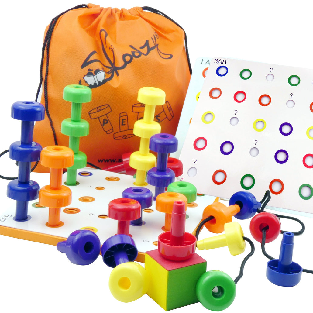 Pattern Peg Board Stacking Toys - 30 Lacing Pegs for Learning Games, Dice Colors <p><font><small>SK-041</small></font></p>