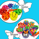 Rainbow Butterfly Sorting Counting Matching Game for 2, 3, 4, 5 Year Old Boys and Girls<p><font><small><b>SK-054</small>