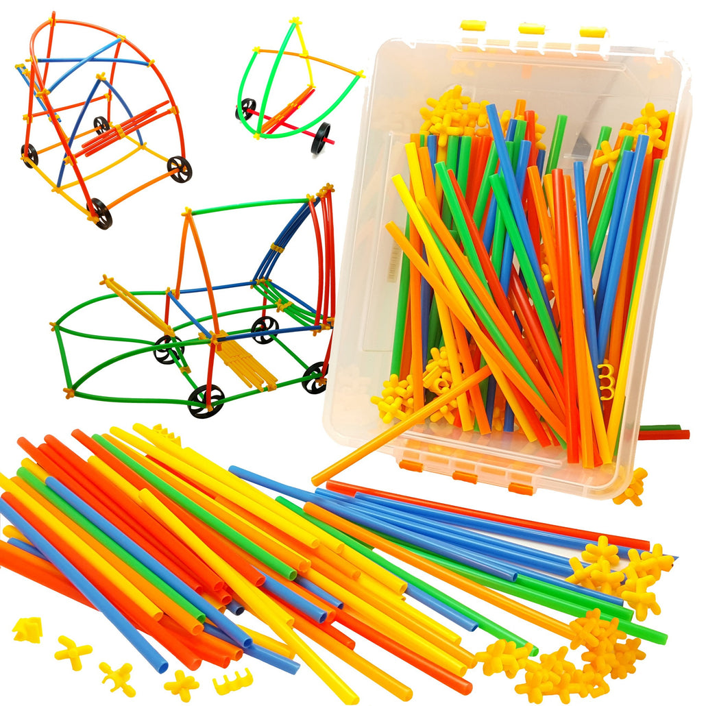 408 Piece Straws and Wheels Connector Set - STEM Building Kit<p><fomt><small><b>SK-020</small>