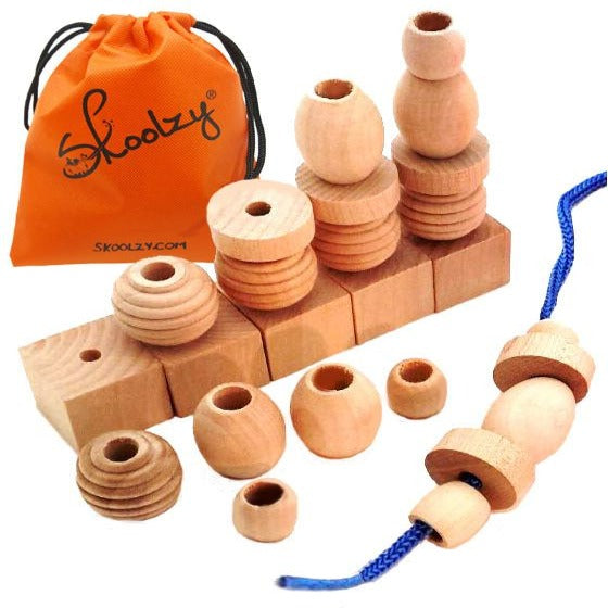 25 Natural Wood Blocks Lacing Beads Toys for Toddlers Ages ...