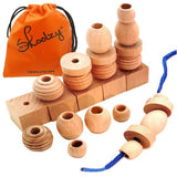 Wooden Blocks Lacing Toys for kids