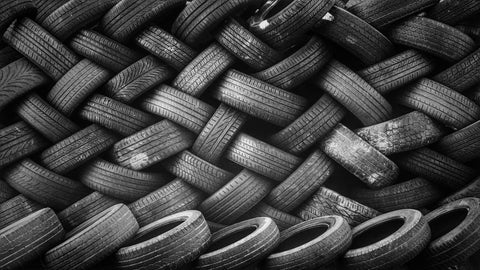 Tires stacked on top of each other