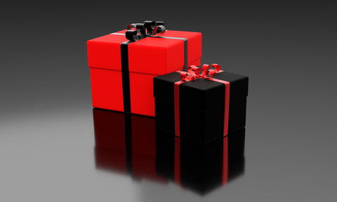 black and red gift boxes with ribbons