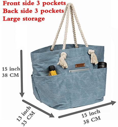 Canvas Beach Bag With 6 Pockets