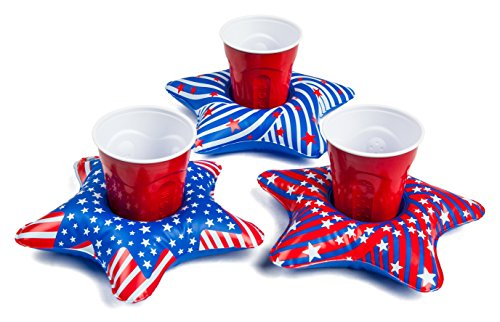 Patriotic Star Pool Cup Holder Floats, 3-Pack Variety