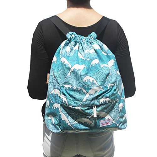 Floral Waterproof Drawstring Backpack