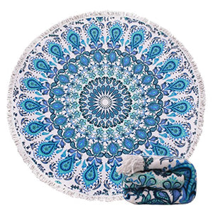 Blue Boho Mandala Beach Towel